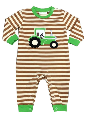 Applique Tractor Green Striped Boy's Romper