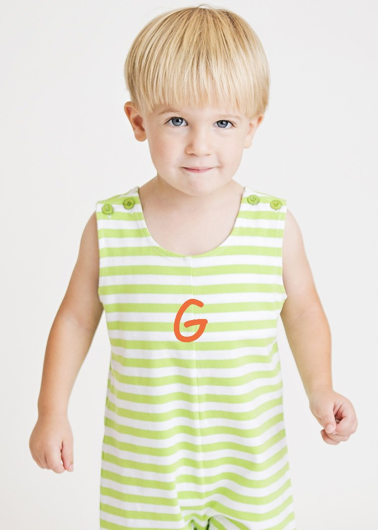 Personalized Green Striped Knit Boys Shortall