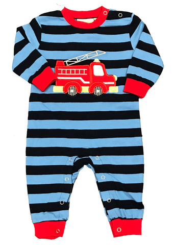 Applique Firetruck Blue Striped Boy's Romper