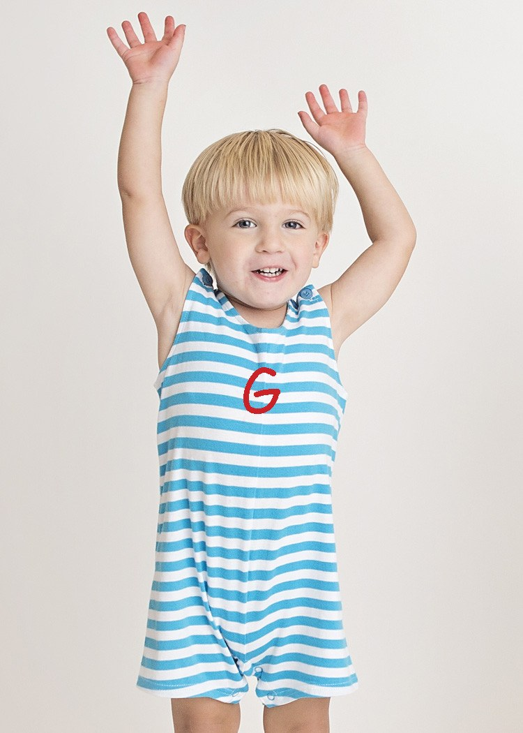 Personalized Turquoise Striped Knit Boys Shortall