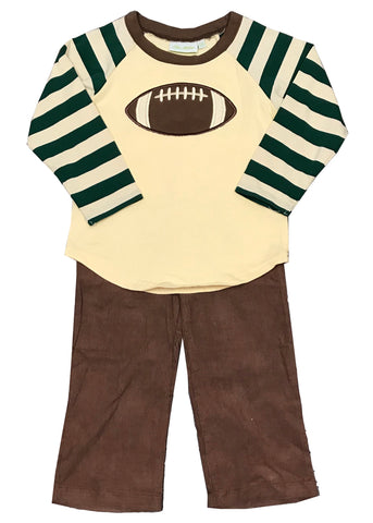Applique Football Green Striped Boy's Pants Set