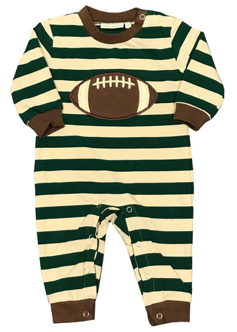 Applique Football Green Striped Boy's Romper