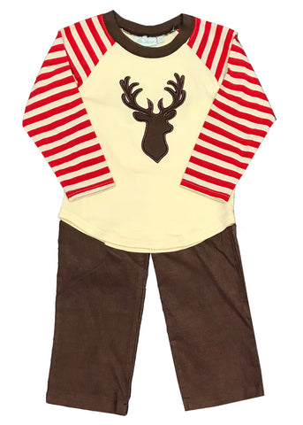 Applique Deer Red Striped Boy's Pants Set