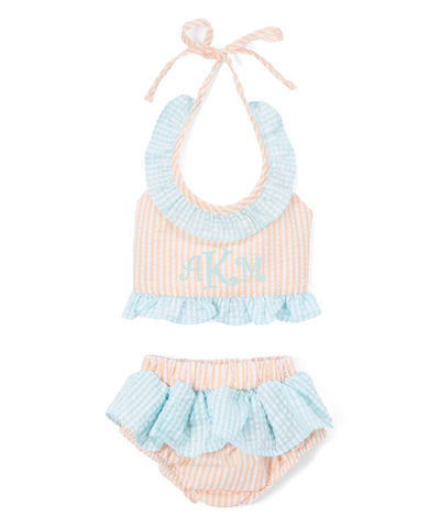 Girl's Orange and turquoise Seersucker 2 Piece Swimsuit
