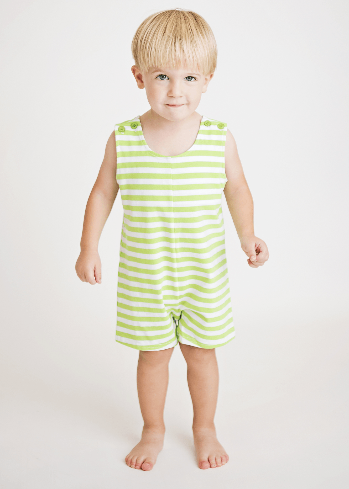 Green Striped Knit Boys Shortall