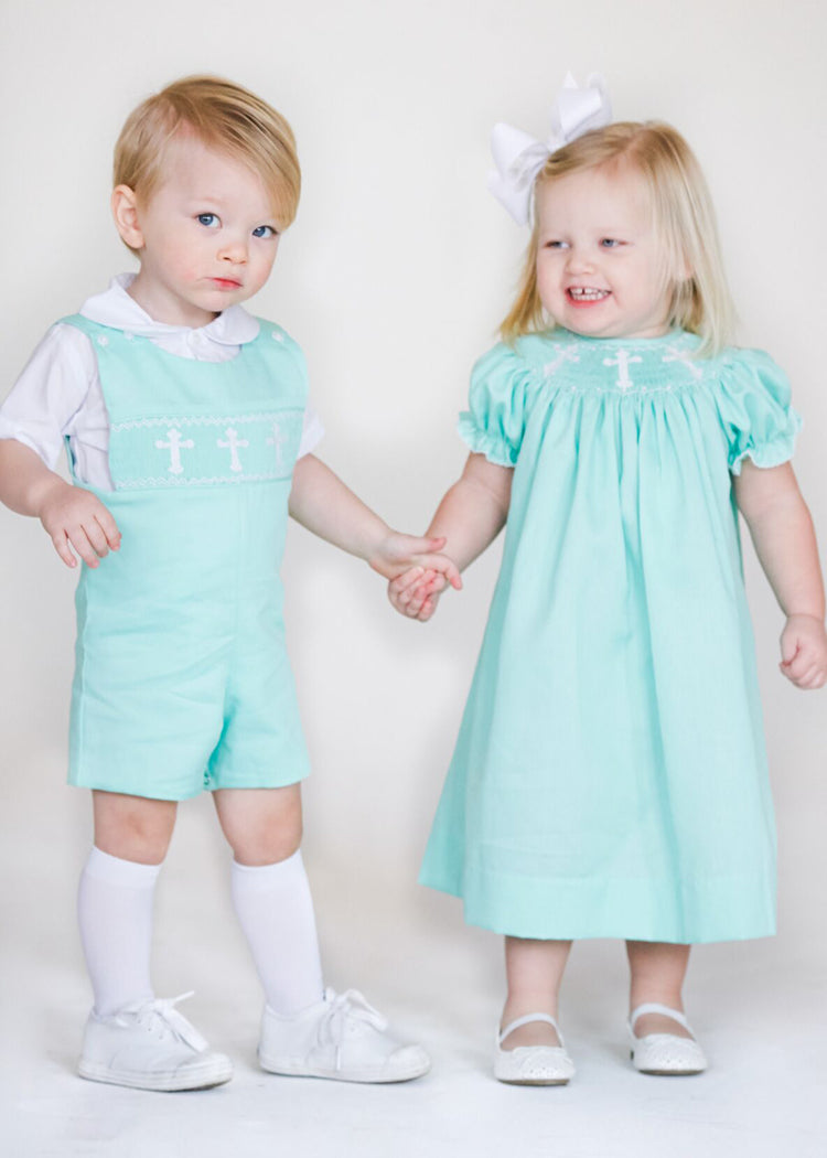57225c67 Boy's Hand Smocked White Crosses Boy's Shortall - Boy's Easter Outfit