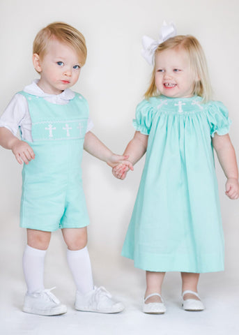 Girl's Hand Smocked Crosses Bishop Dress