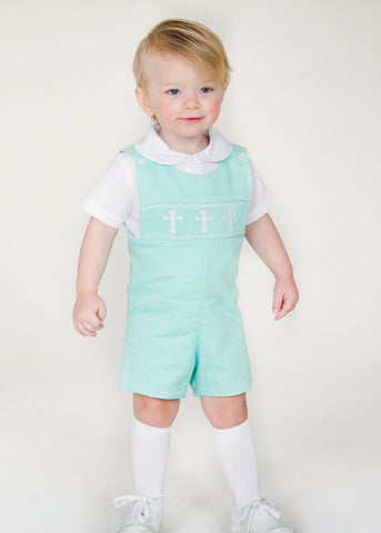 Boy's Hand Smocked White Crosses Boy's Shortall