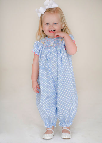 Girl's Smocked Bunny Faces Long Romper
