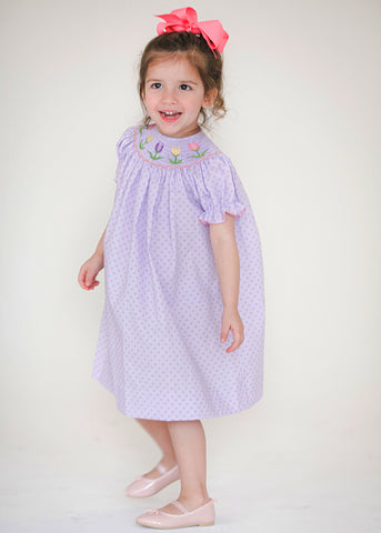 Girl's Smocked Tulips Bishop Dress