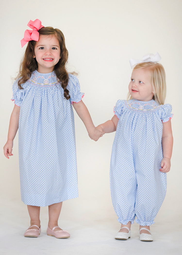 Smocked Bunnies Siblings Dress and Romper