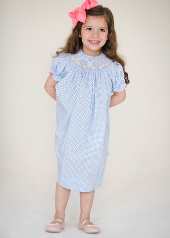 Girl's Smocked Bunny Faces Bishop Dress