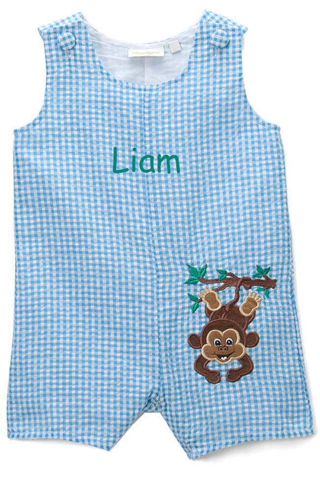 Personalized Applique Monkey Boy's Shortall