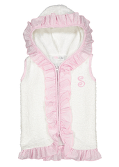 Girl's Light Pink Ruffles Terry Cloth Cover Up Top with monogram