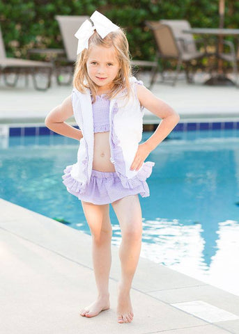 Girl's Lavender Ruffles Terry Cloth Cover Up Top