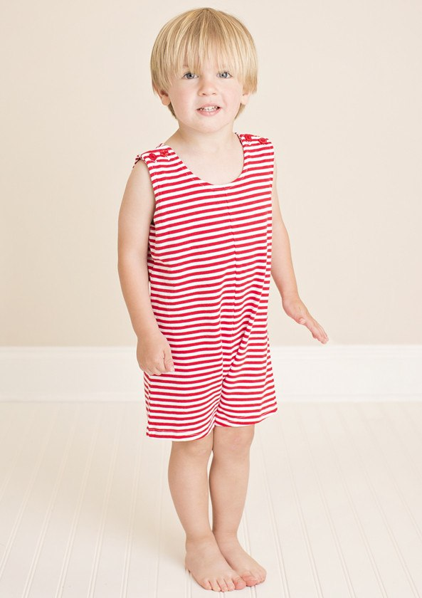 Red Striped Knit Boys Shortall