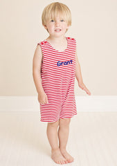 Red Striped Knit Boys Shortall Monogram