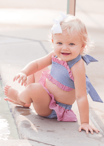 Girl's Royal Blue and Red Seersucker 2 Piece Swimsuit