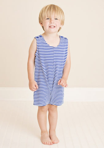 Royal Blue Striped Knit Boys Shortall