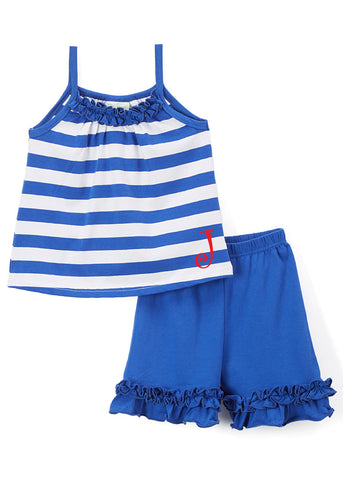 Girls Royal Blue Stripe Tank & Ruffle Shorts