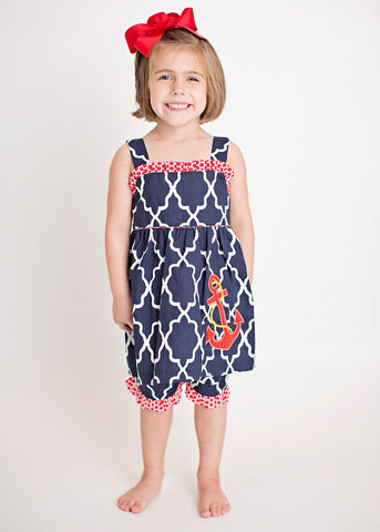Girls Nautical Applique Anchor Short Set