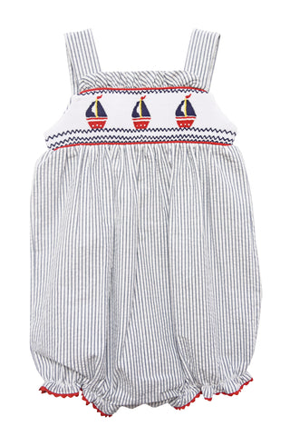 Girl's Hand Smocked Sailboat Summer Bubble