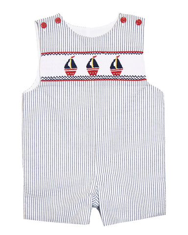 Boy's Hand Smocked Sailboat Summer Overall