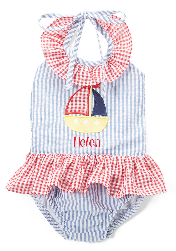 Personalized Applique Sailboat Girl