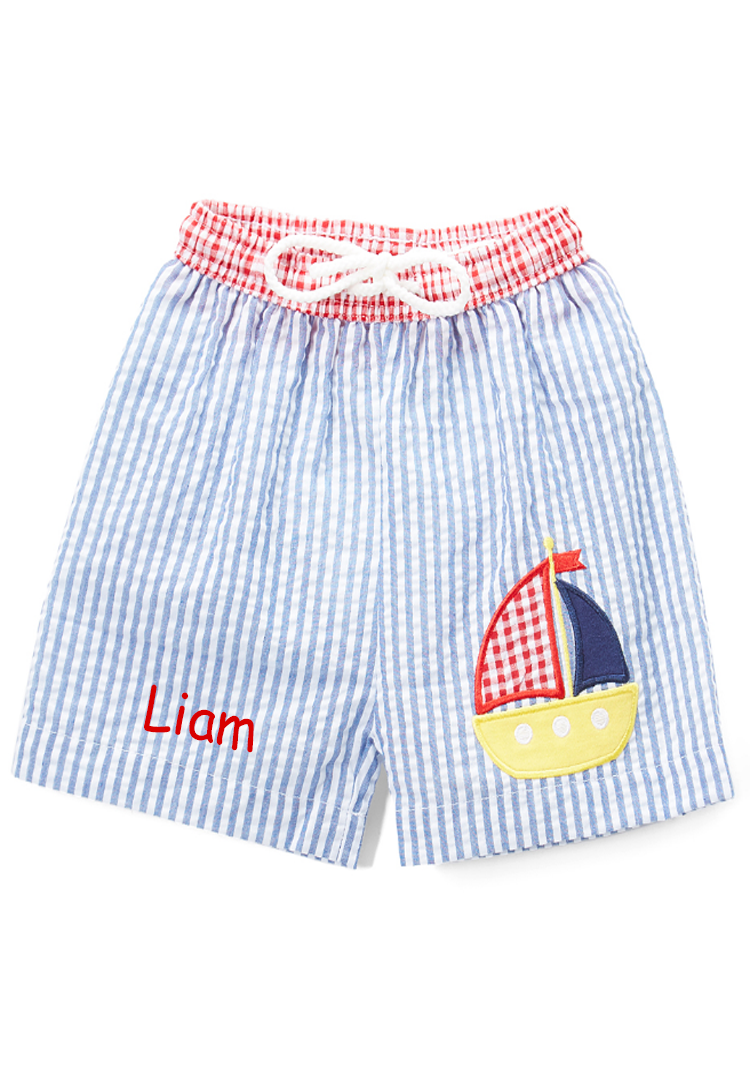 Personalized Applique Sailboat Boy's Swim Trunks