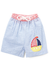 Applique Sailboat Seersucker Boy's Swim Trunks