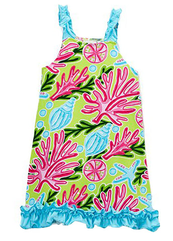 Bright Summer Tropical Print Sundress with Ruffle Straps