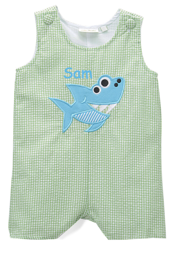 Personalized Applique Shark Boy's Shortall