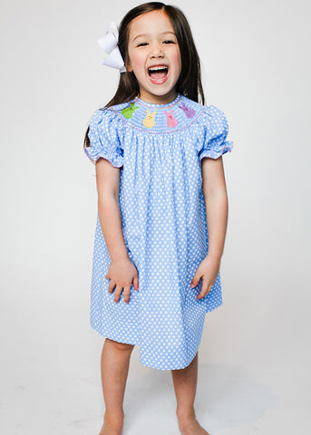 Girl's Smocked Colorful Bunnies Bishop Dress