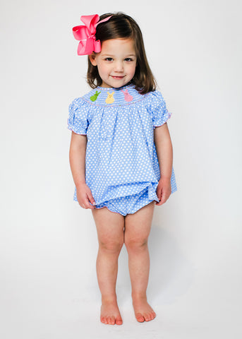 Girl's Smocked Colorful Bunnies Bloomer Set