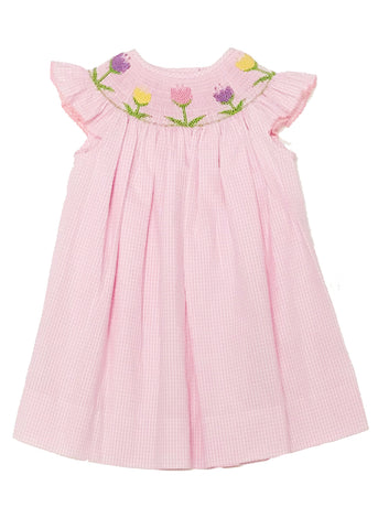 Girl's Smocked Tulips Pink Bishop Dress