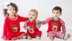 Applique Christmas Red & White Stripe Rudolph Unisex Loungewear