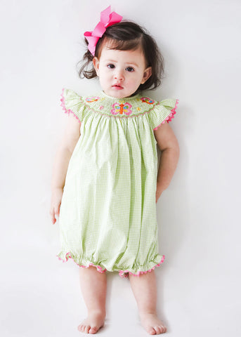 Girl's Hand Smocked Butterfly Bubble