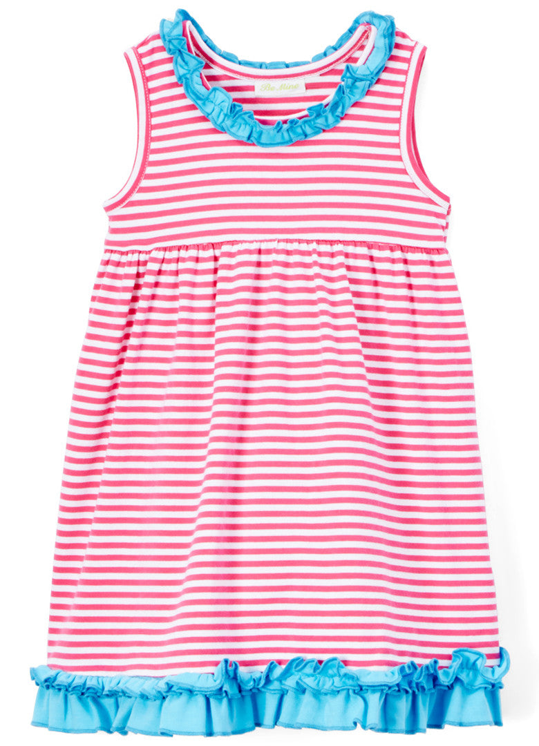 Girls Hot Pink Stripe & Turquoise Ruffle Knit Summer Dress