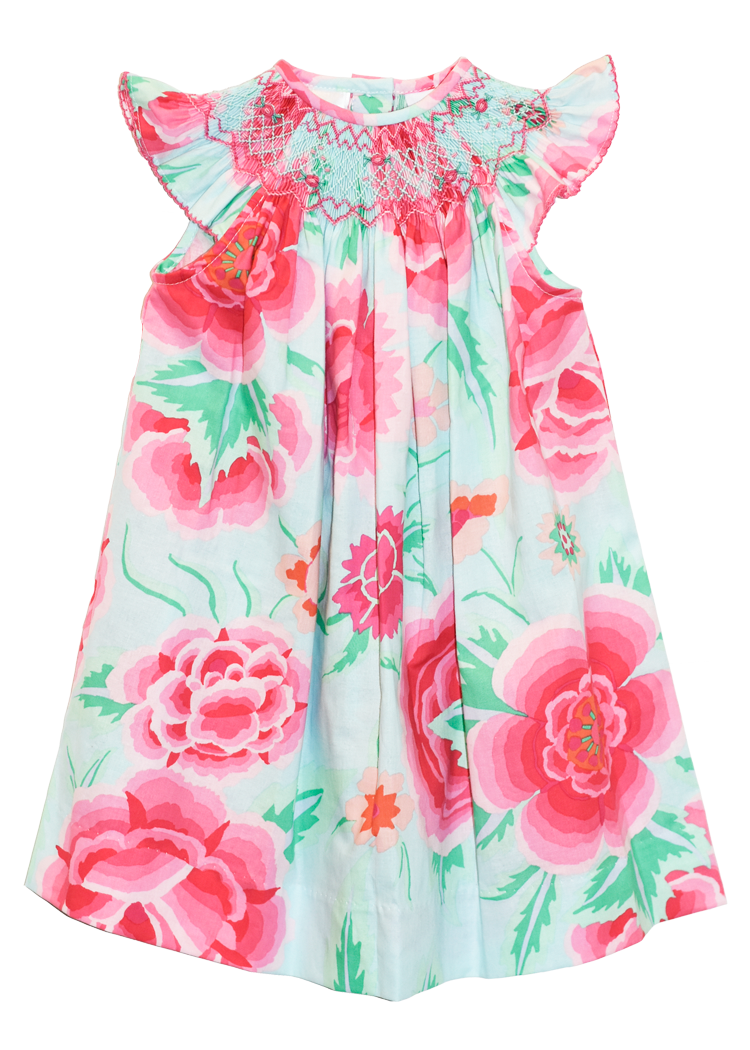 Girl's Hand Smocked Geometric Floral  Bishop Summer Dress