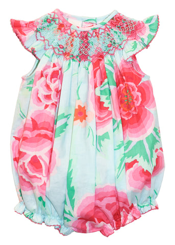 Girl's Hand Smocked Geometric Floral Baby Bubble