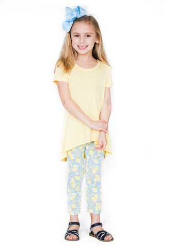 Girl's Yellow Short Sleeve Shirt and Lemon Print Legging Bamboo Set