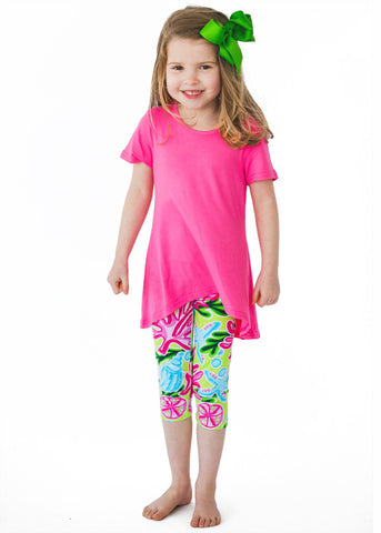 Bright Summer Tropical Print Bamboo Set