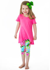 Tropical Print Girls Bamboo Legging Set