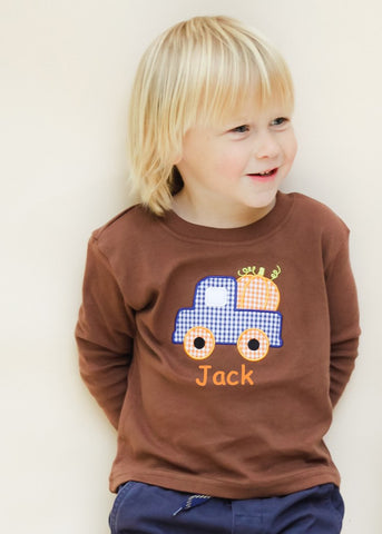 Applique Pumpkin Truck Brown Knit Long Sleeve Shirt