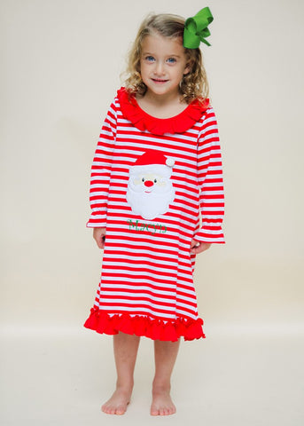 Applique Santa Face Girl's Red Loungewear Gown