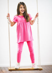 Girl's Comfy Hot Pink and White Striped Monogrammed Knit Top with Leggings