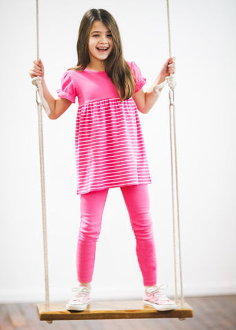 Girl's Comfy Hot Pink and White Striped Swing Top with Leggings