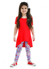 Girl's Red Short Sleeve Shirt and Floral Legging Bamboo Set