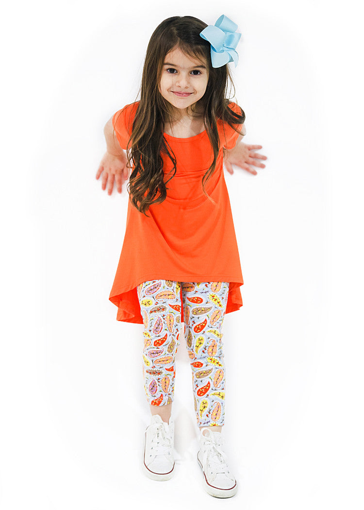 Girl's Orange Paisley Short Sleeve Bamboo Legging Set