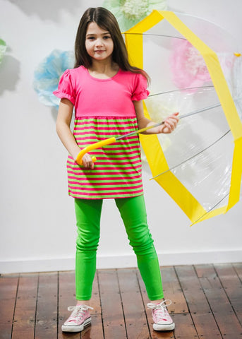 Girl's Comfy Hot Pink and Lime Green Striped Swing Top with Leggings